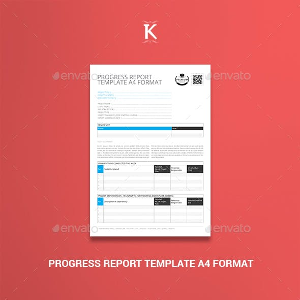Progress Report Template A4 Format