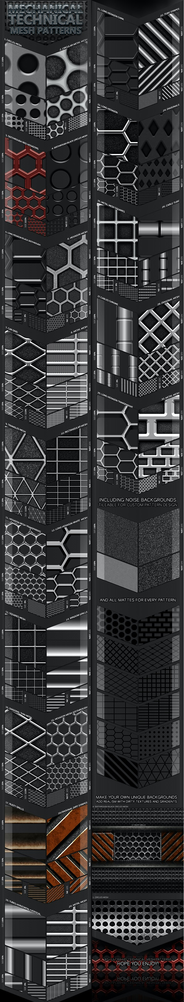 45 Mechanical Technical Mesh Patterns - Miscellaneous Textures / Fills / Patterns