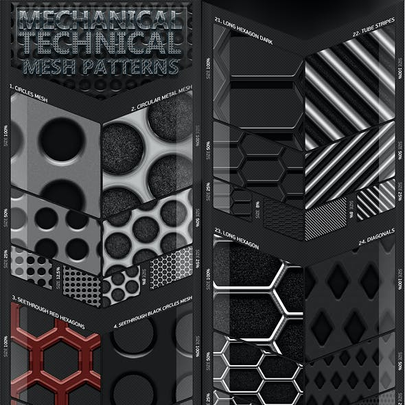 45 Mechanical Technical Mesh Patterns