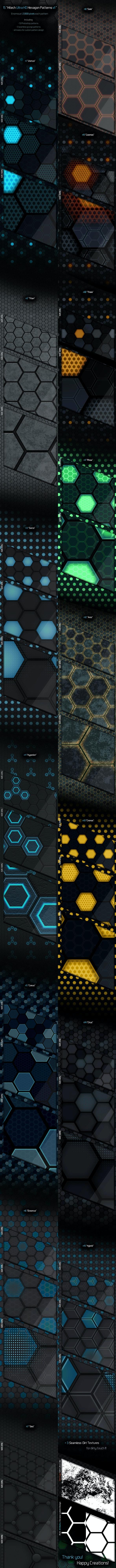 Ulta HD Hexagon Patterns v1 - Techno / Futuristic Textures / Fills / Patterns
