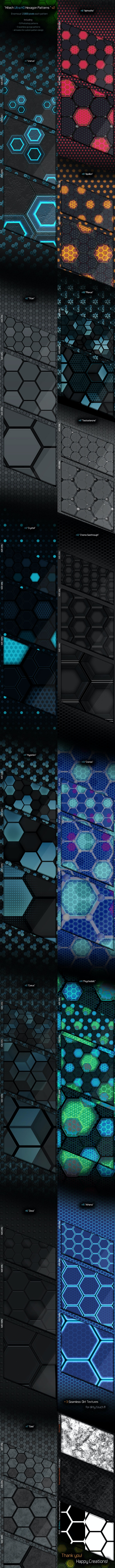 Ulta HD Hexagon Patterns v2 - Techno / Futuristic Textures / Fills / Patterns