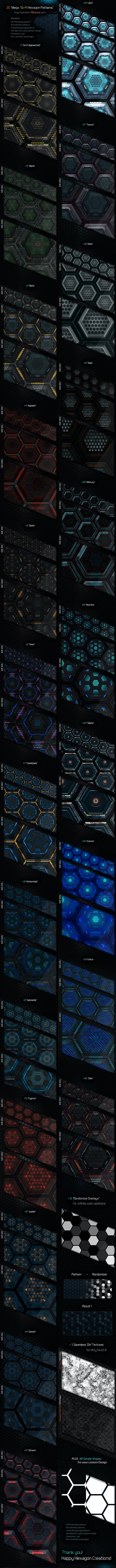 Mega Sci-Fi Hitech Hexagon Patterns - Techno / Futuristic Textures / Fills / Patterns