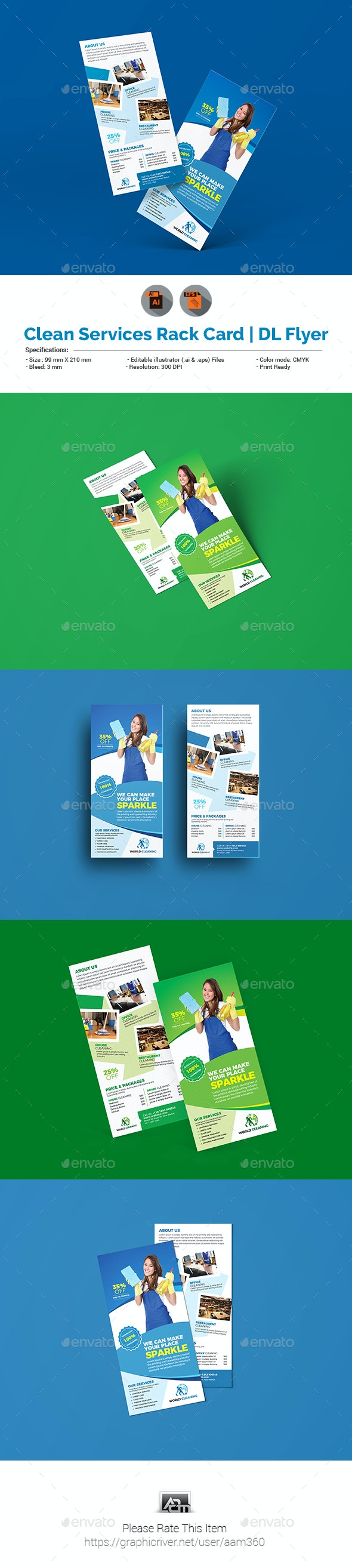 Cleaning Service Rack Card DL Flyer Template - Corporate Flyers