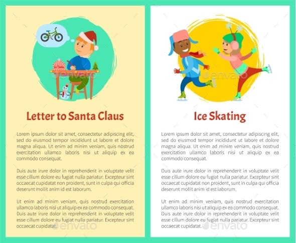 Letter To Santa and Ice Skating Posters with Text - Seasons/Holidays Conceptual