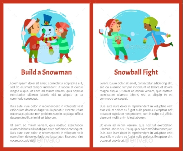 Build Snowman and Snowball Fights Postcards Vector - Seasons/Holidays Conceptual