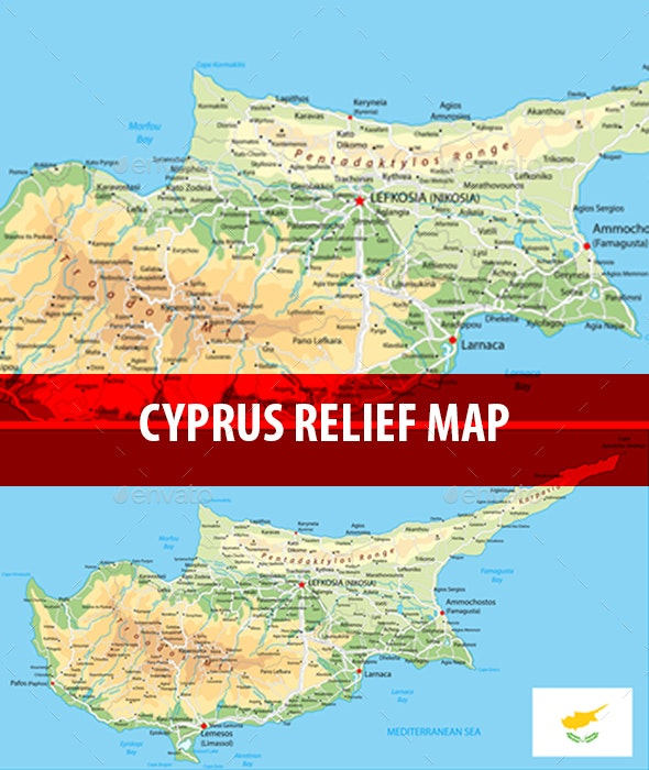 Cyprus Physical Map - Travel Conceptual