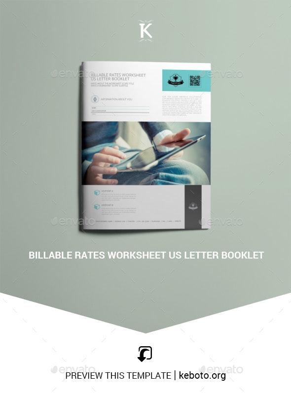 Billable Rates Worksheet US Letter Booklet - Miscellaneous Print Templates