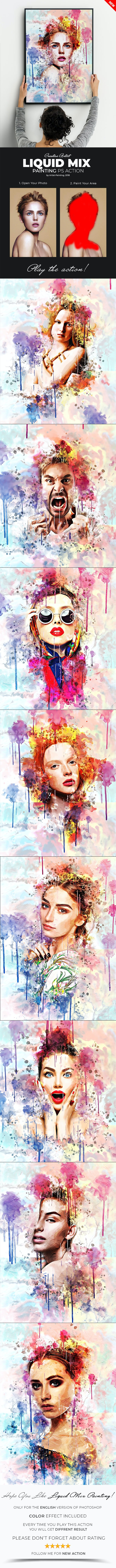 Liquid Mix Painting Photoshop Action - Photo Effects Actions