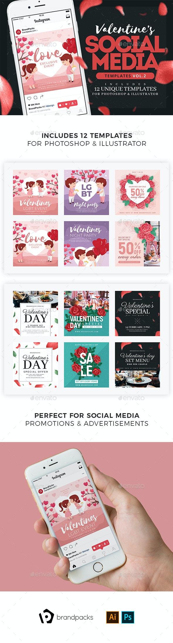 Valentine's Day Instagram Templates - Social Media Web Elements