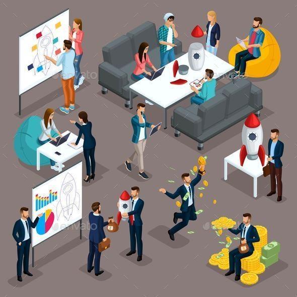 Isometric Businessman Development Business Brainstorming - Buildings Objects