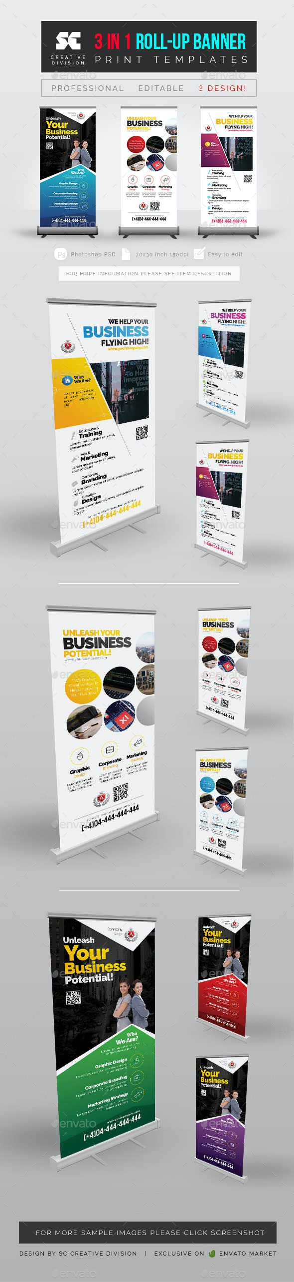 Multipurpose Roll Up Banner 3 In 1 - Signage Print Templates