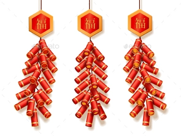 Set of Isolated 3d Fireworks or Firecrackers - Seasons/Holidays Conceptual