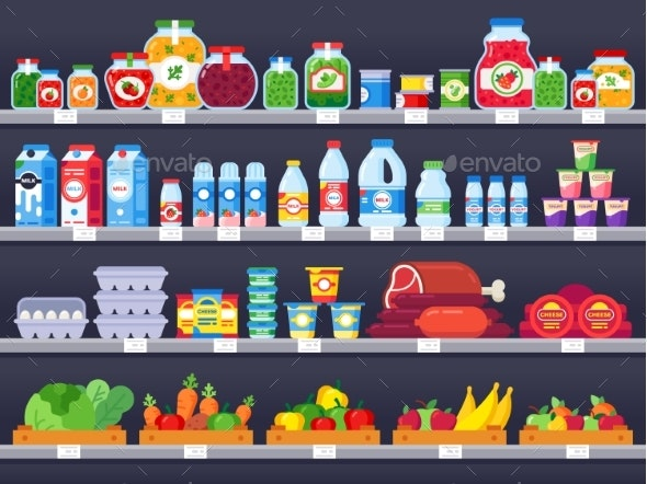 Food Products on Shop Shelf. Supermarket Shopping - Food Objects