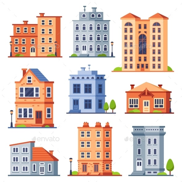 Living House Buildings. Cottage Houses Exterior - Buildings Objects