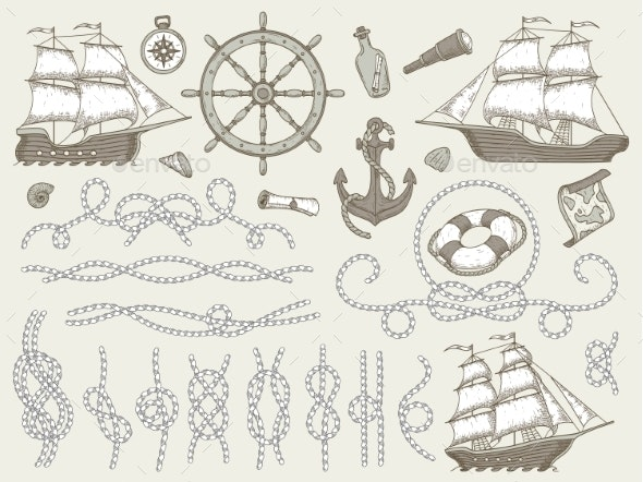 Decorative Marine Elements. Sea Rope Frames - Man-made Objects Objects