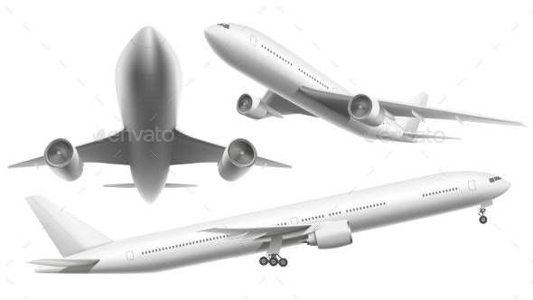 Realistic Aircraft. Passenger Plane, Sky Flying - Man-made Objects Objects