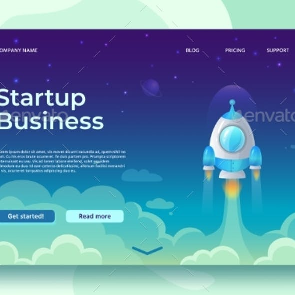 Startup Launch Landing Page. Rocket Launch, Easy