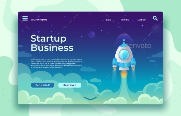 Startup Launch Landing Page. Rocket Launch, Easy - Business Conceptual
