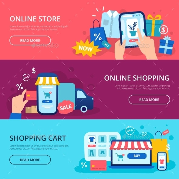 Online Shopping Banner. Web Store Credit Card - Business Conceptual