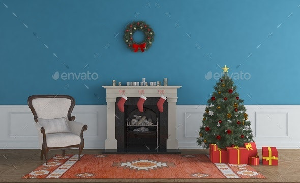 Christmas Living Room  - Christmas Tree - 3D Backgrounds