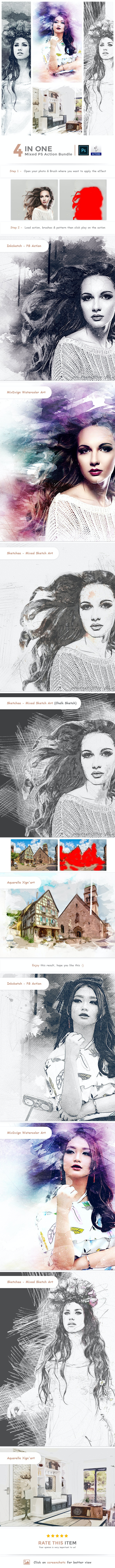 4 in One Mixed PS Action Bundle - Photo Effects Actions