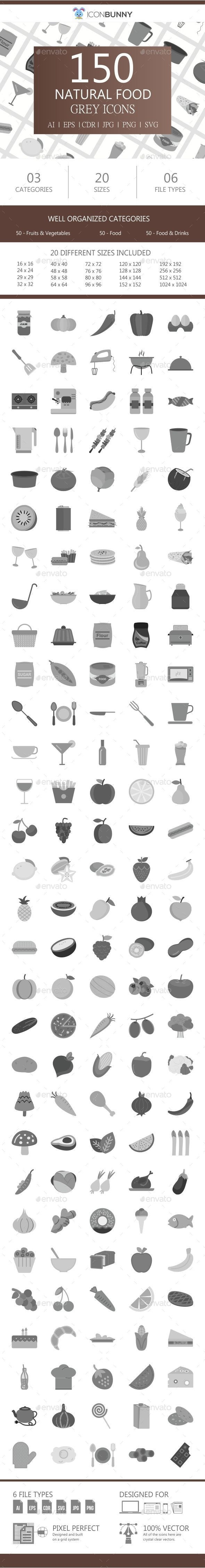 150 Natural Food Flat Greyscale Icons - Icons