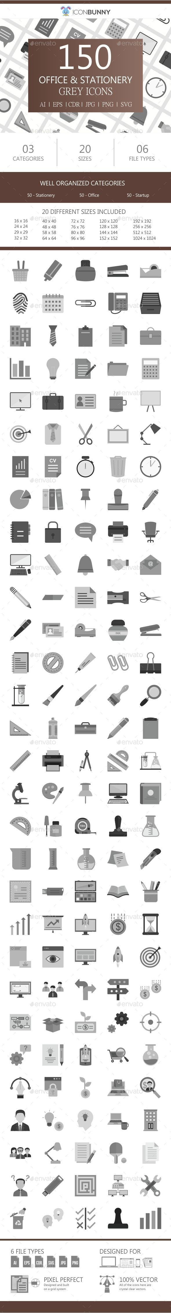 150 Office & Stationery Flat Greyscale Icons - Icons