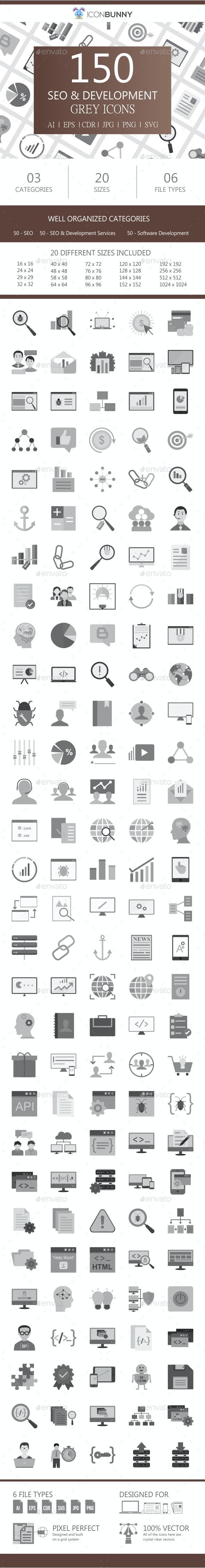 150 SEO & Development Flat Greyscale Icons - Icons