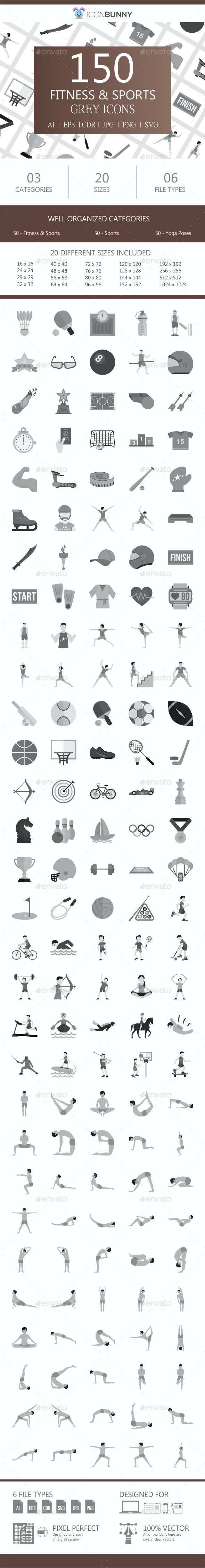 150 Fitness & Sports Flat Greyscale Icons - Icons