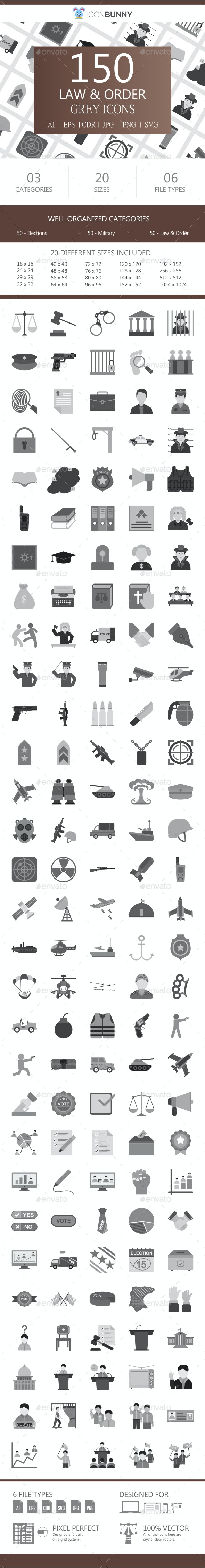 150 Law & Order Flat Greyscale Icons - Icons