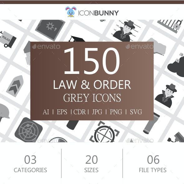 150 Law & Order Flat Greyscale Icons