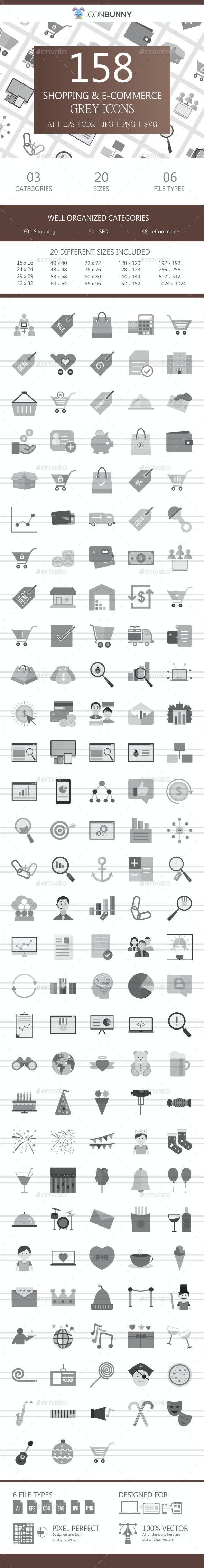 159 Shopping & E-Commerce Flat Greyscale Icons - Icons