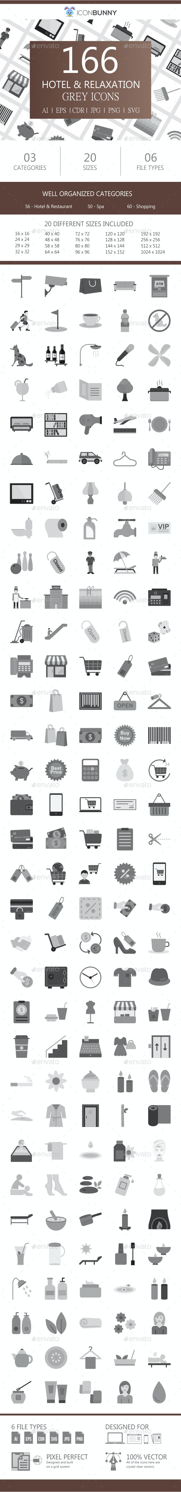 166 Hotel & Relaxation Flat Greyscale Icons - Icons