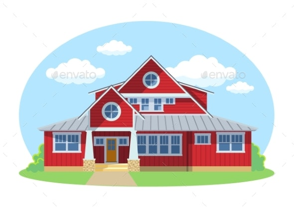 Red Cartoon House Exterior with Blue Clouded Sky - Buildings Objects