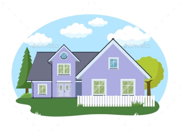 Cartoon House Exterior with Blue Clouded Sky Front - Buildings Objects