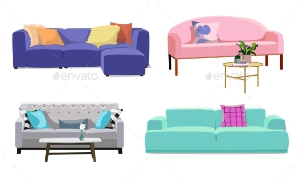 Set of Modern Colorful Soft Sofas with Upholstery - Objects Vectors