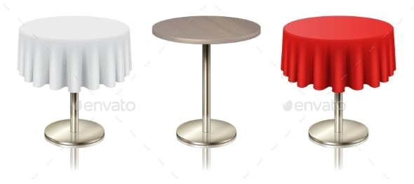 Restaurant Round Tables with Tablecloth Set - Man-made Objects Objects