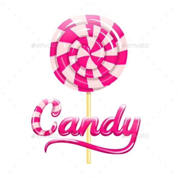 Colorful Pink Striped Candy Sign - Food Objects
