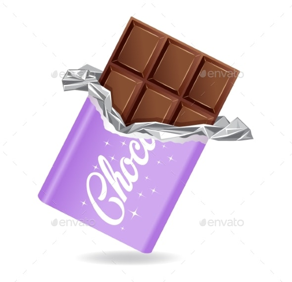 Chocolate Bar in Opened Purple Wrapped and Foil - Food Objects