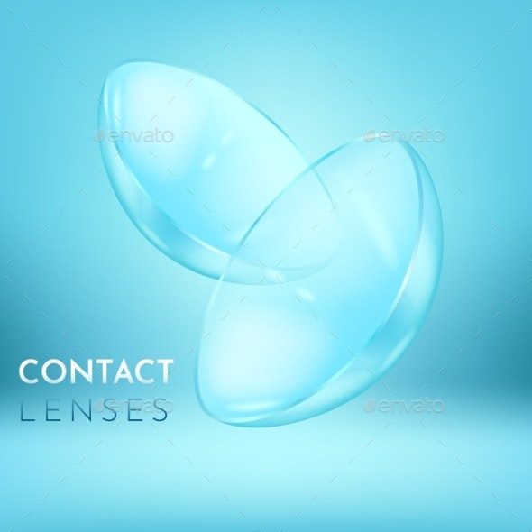 Close View on Pair of Eye Contact Lenses - Health/Medicine Conceptual