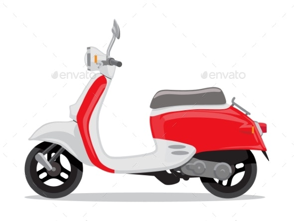 vector red and white retro scooter by marysan graphicriver https graphicriver net item vector red and white retro scooter 23072201