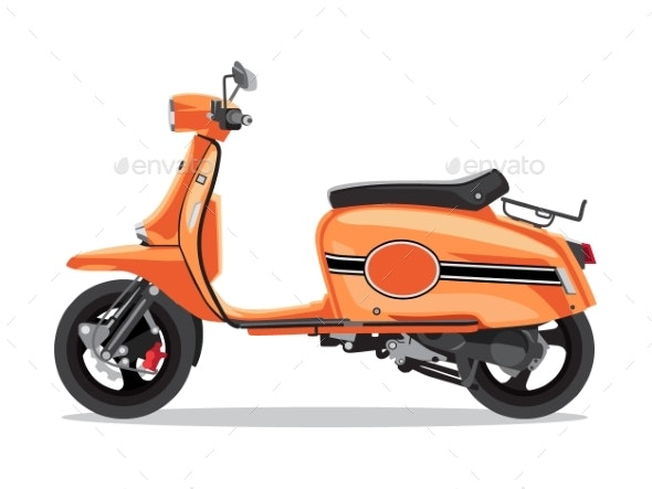 Vector Orange Retro Scooter - Man-made Objects Objects
