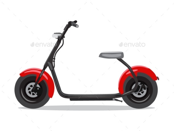 Vector Red Modern Electric Scooter - Man-made Objects Objects