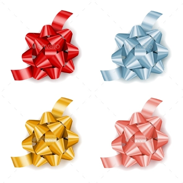 Set of Colorful Realistic Gift Bows with Ribbon - Decorative Symbols Decorative
