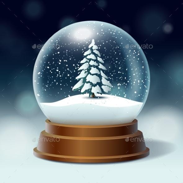 Snowy Christmas.Crystal Ball With Snowy Christmas Tree