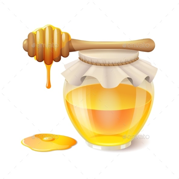 Tasty Honey in Glass Jar with Honey Dipper - Food Objects