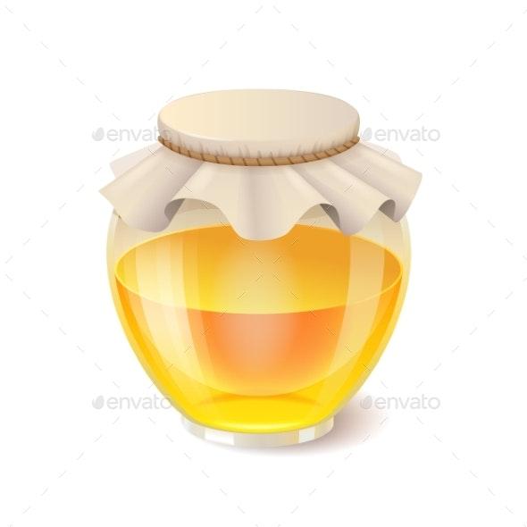 Honey in Glass Jar - Food Objects