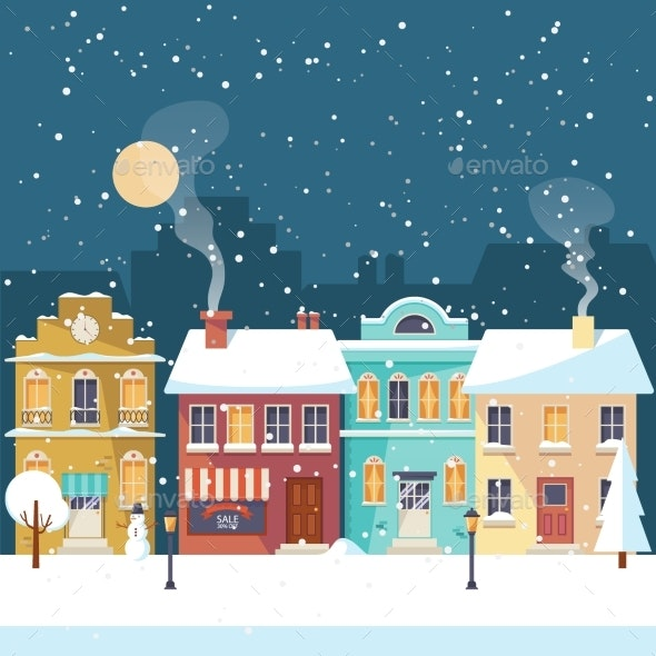 Snowy Christmas Night in the Cozy Town - Buildings Objects