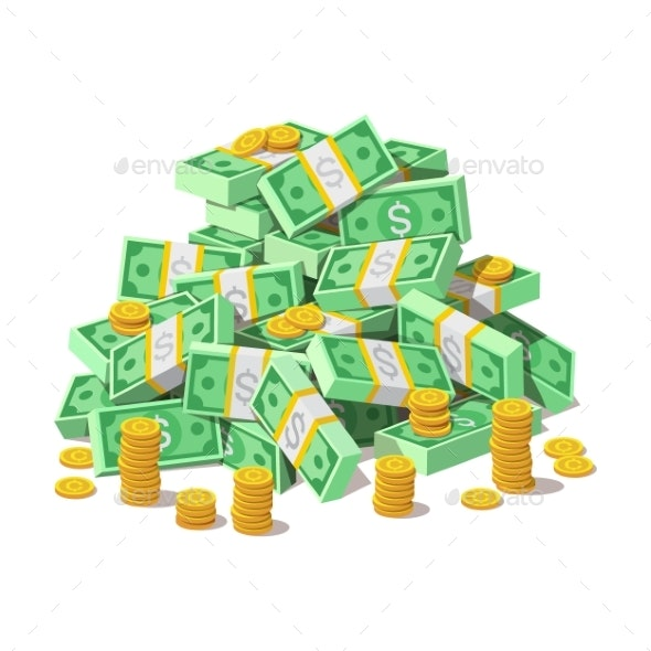 Pile of Cash Money Banknotes and Gold Coins - Miscellaneous Vectors