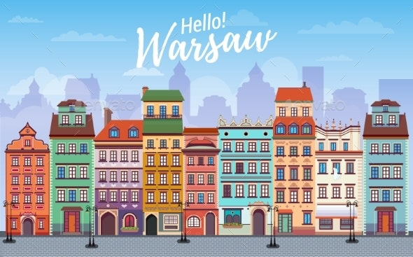 Warsaw Cityscape Banner in Flat Style - Buildings Objects